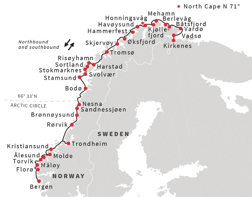 Hurtigruten map
