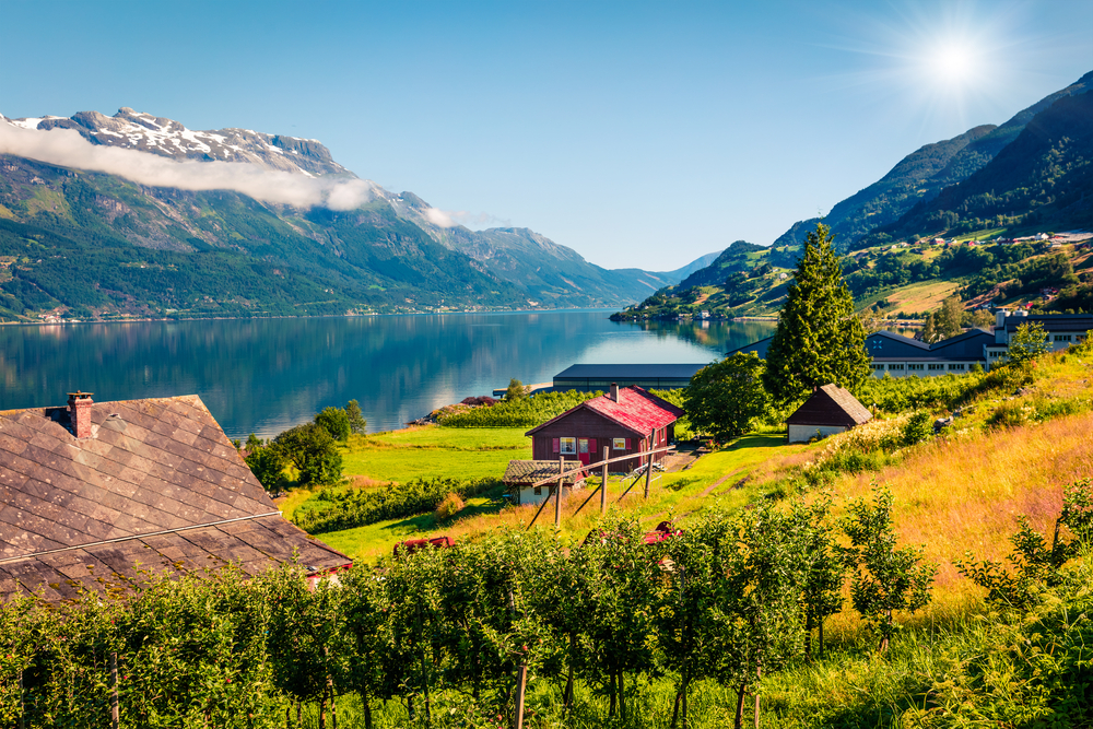 Lofthus village in Norway in the sun
