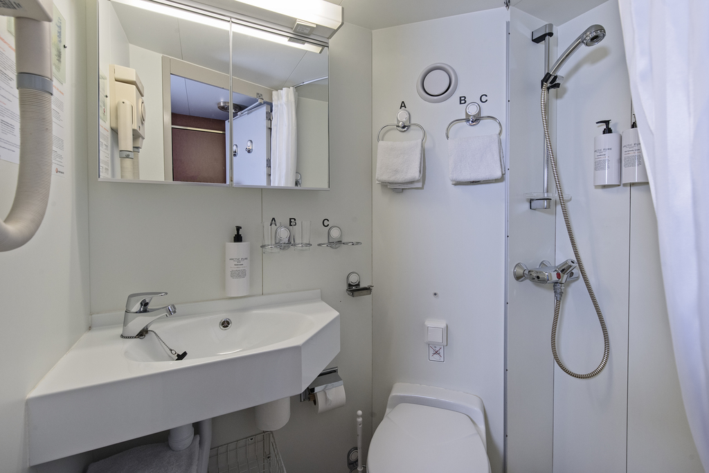 A bathroom on board the Nordnorge cruise ship