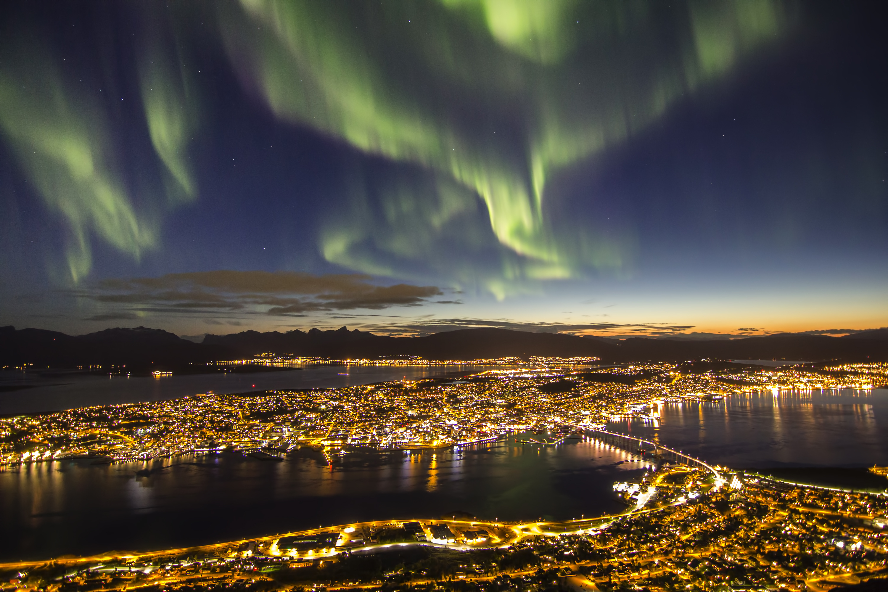 The Northern Lights over Tromso in Norway
