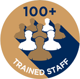 100+ Trained Staff