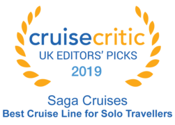 "Cruise Critic 2019 - Saga Cruises ""Best Cruise Line for Solo Travellers"""