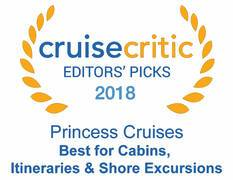 Cruise Crictic Editors Pick 2018 - Princess Cruises best for Cabins, itineraries and Excursions