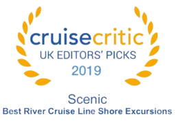 "Cruise Critic 2019 - Scenic River Cruise ""Best River Cruise Line for Shore Excursions"" 2019 Winner"