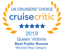 Cruise Crictic 2019 - Queen Victoria Best Public Rooms in Mid-Size ship Category