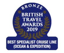 "British Travel Awards 2019 - Hurtigruten ""Best Specialist Cruise Line"" Bronze Award"