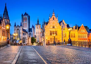 Center of Ghent, embankment Graslei at night