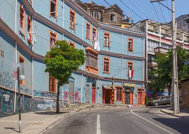 Typical street in the old town - Valparaiso, Chile