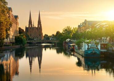 Church of St. Paul in Strasbourg at sunrise, France