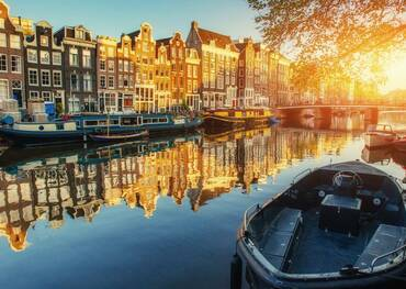Canal at sunset, Amsterdam