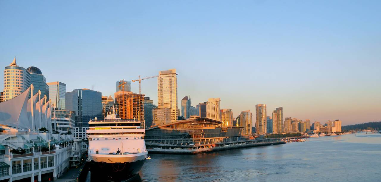 Waterfront skyline of Vancouver Canada at dawn