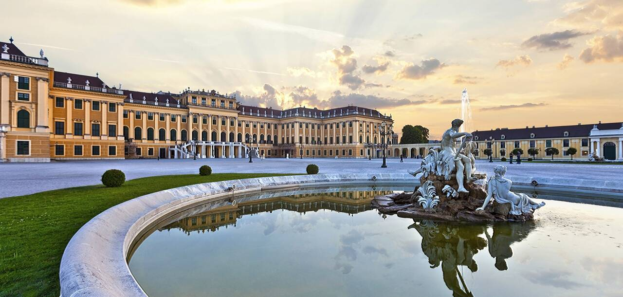 Vienna Schoenbrunn Palace at sunset