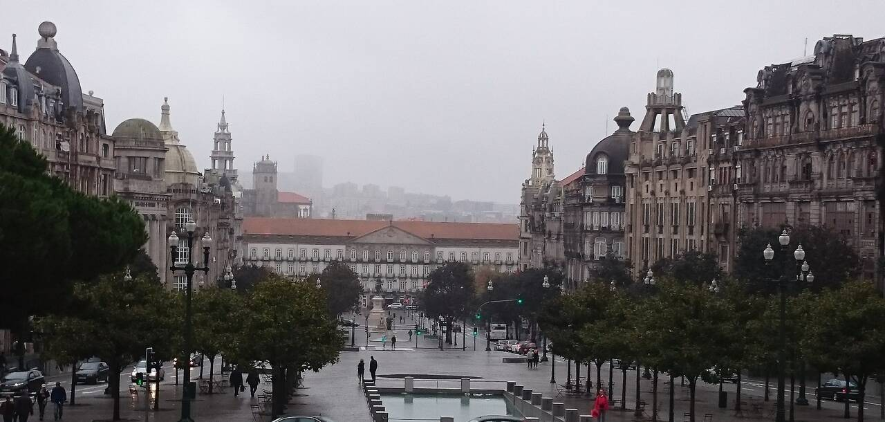 Portugal Porto City Autumn Square