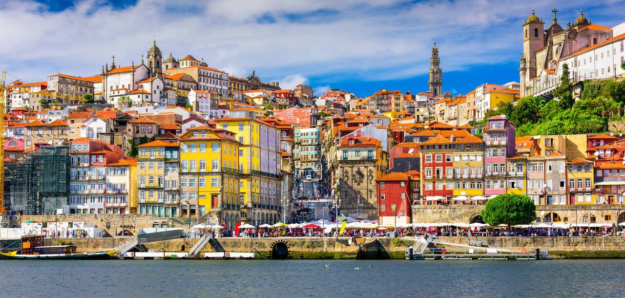 Old town skyline from across the Douro river, Porto, Portugal - Leixões