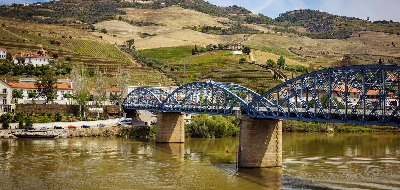 View from Pinhao village in Portugal to Douro valley and river and bridge