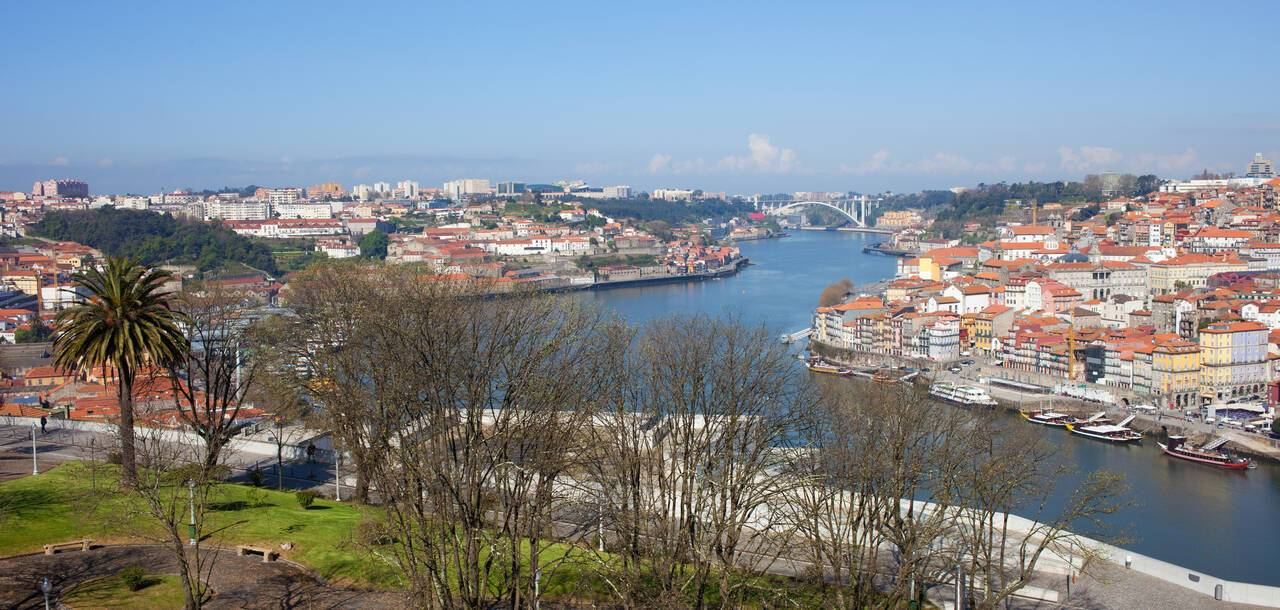 Jardim do Morro in Vila Nova de Gaia and Porto cityscape in Portugal
