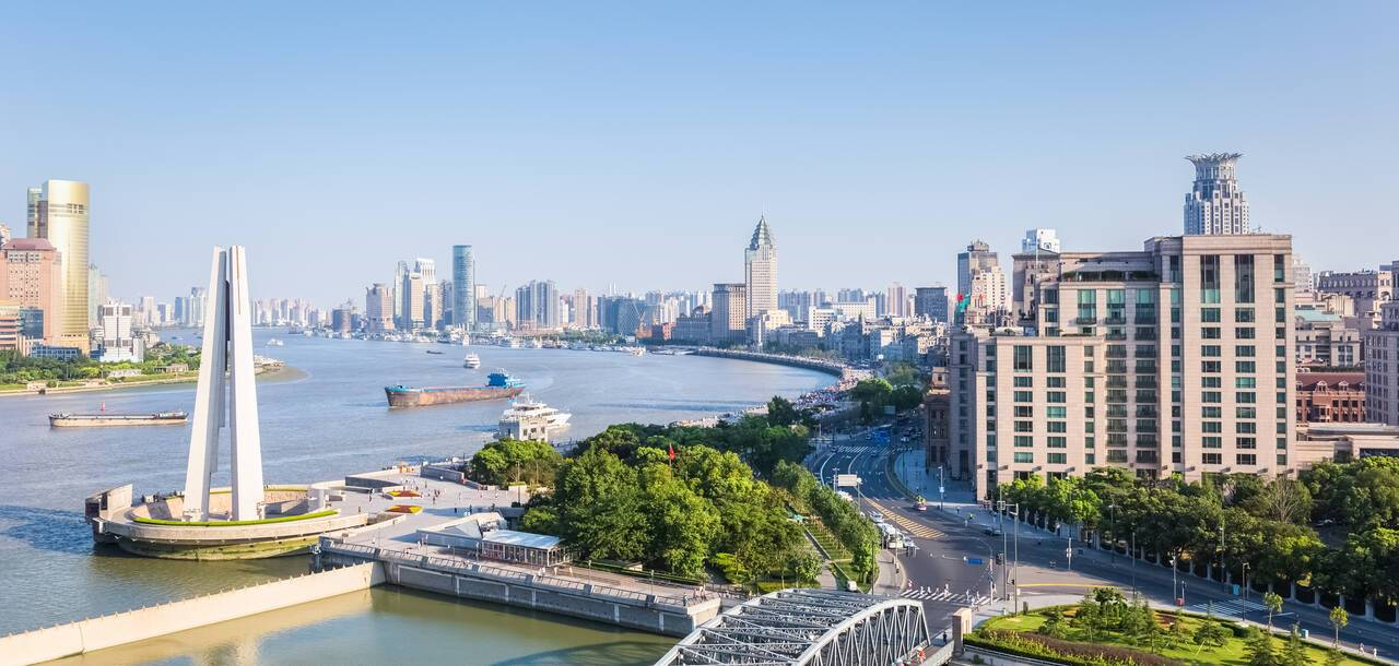 sShanghai in afternoon , Huangpu river with garden bridge